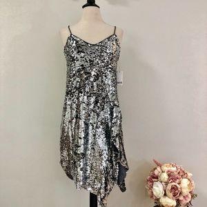 NWT Bar III Silver Sequin 'Glitter Glamour' Dress